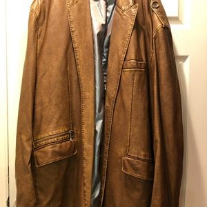 Other - Big & Tall Brown Faux Leather Men's Blazer